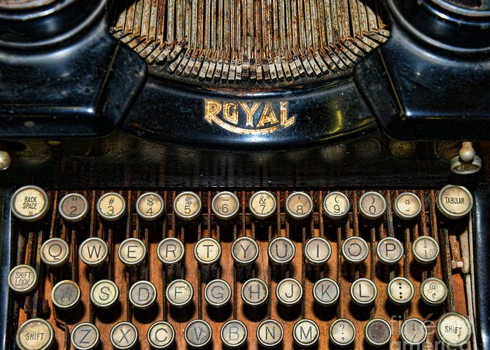 Paul Ward Greeting Card featuring the photograph Steampunk - Typewriter -the Royal by Paul Ward