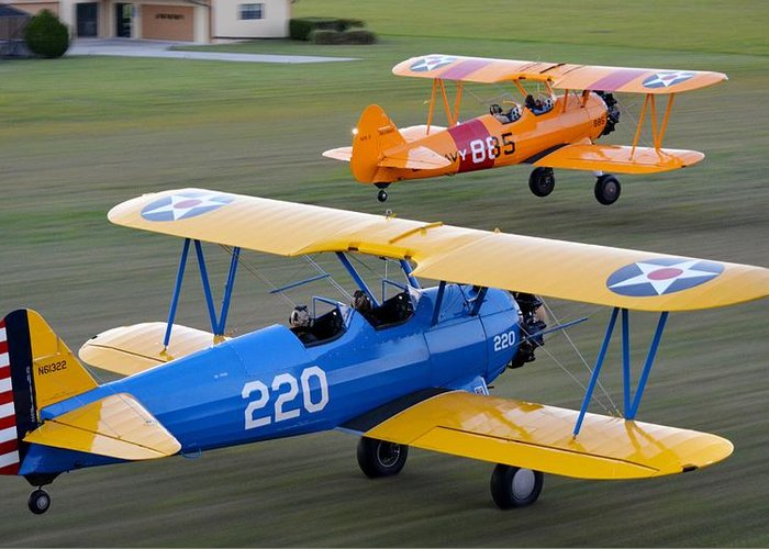 Boeing Stearman Greeting Card featuring the photograph Stearman Departure by Matt Abrams
