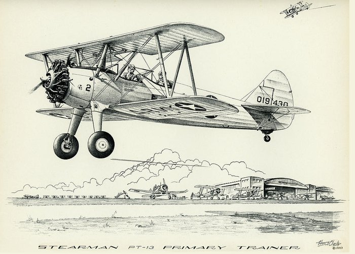 Stearman Greeting Card featuring the drawing Stearman Pt-13 Trainer by Hank Clark