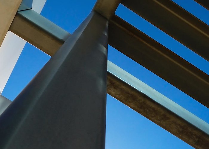 Abstracts Greeting Card featuring the photograph Steel Blue - Industrial Abstract by Steven Milner
