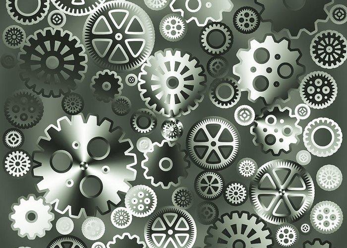 Industrial Greeting Card featuring the digital art Steel Gears by Gaspar Avila