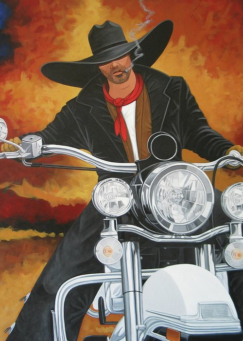 Cowboy On Motorcycle Greeting Card featuring the painting Steel Pony by Lance Headlee