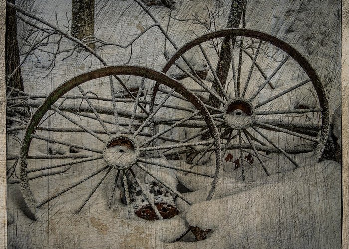 Old Greeting Card featuring the photograph Steel Wheels by Paul Freidlund