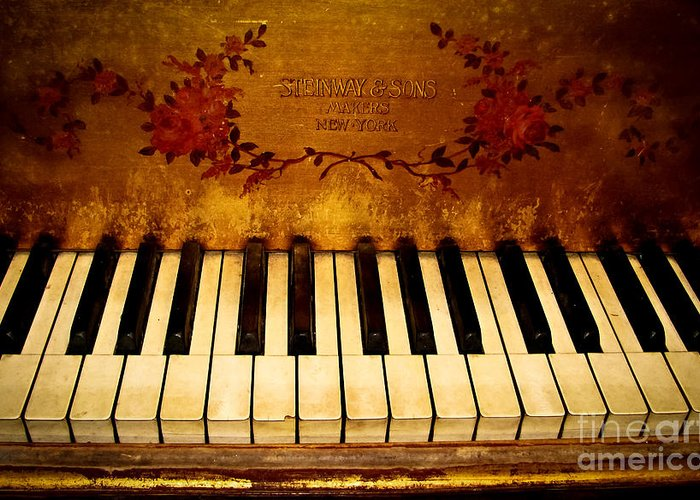Steinway Greeting Card featuring the photograph Steinway Golden Grand by Colleen Kammerer