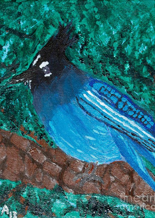 Stellar's Jay Greeting Card featuring the painting Stellar's Jay by Lloyd Alexander
