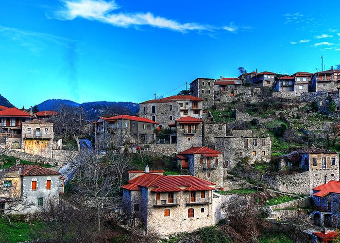 Architecture Greeting Card featuring the photograph Stemnitsa - Greece by Constantinos Iliopoulos