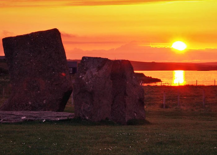 Sunset Greeting Card featuring the photograph Stenness Sunset 2 by Steve Watson