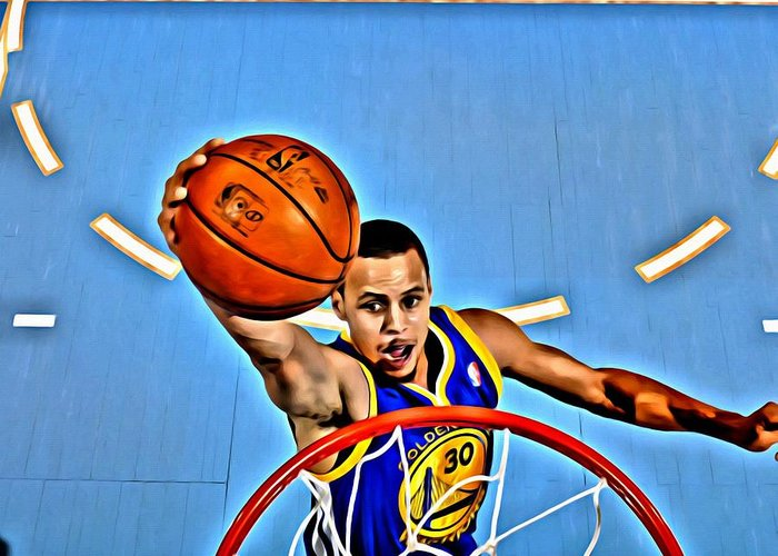 National Greeting Card featuring the painting Steph Curry by Florian Rodarte