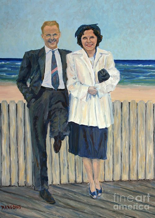 Atlantic City Greeting Card featuring the painting Stepping Out In Atlantic City New Jersey by Pamela Parsons