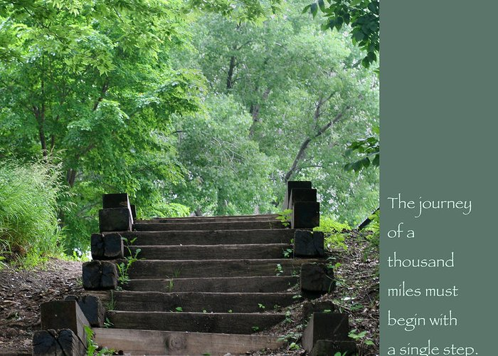 Zen Greeting Card featuring the photograph Steps And Lao Tzu Quote by Heidi Hermes