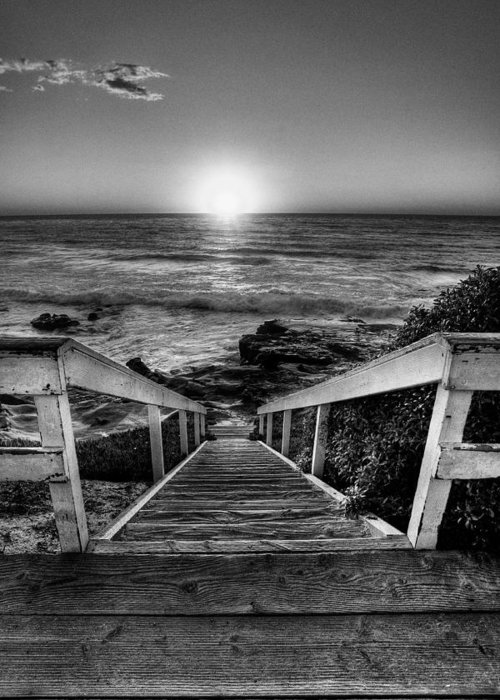Beach Art Greeting Card featuring the photograph Steps To The Sun Black And White by Peter Tellone