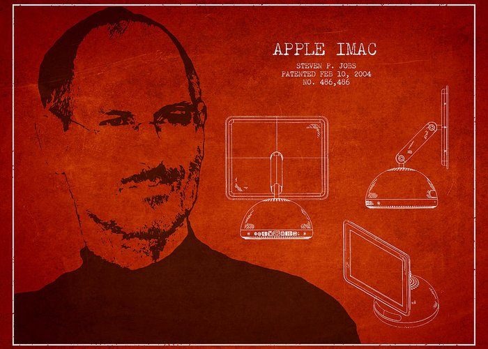 Steve jobs imac patent red greeting card for sale by aged pixel steve jobs portrait greeting card featuring the digital art steve jobs imac patent red by m4hsunfo