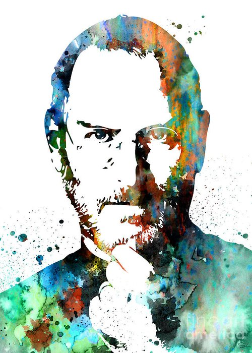 Steve jobs greeting card for sale by watercolor girl steve jobs watercolour painting print greeting card featuring the painting steve jobs by watercolor girl m4hsunfo