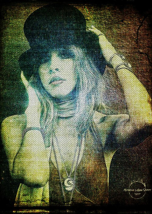 Stevie Nicks Greeting Card featuring the digital art Stevie Nicks - Bohemian by Absinthe Art By Michelle LeAnn Scott