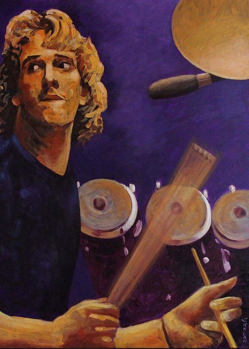Portrait Greeting Card featuring the painting Stewart Copeland - The Police by John Nolan