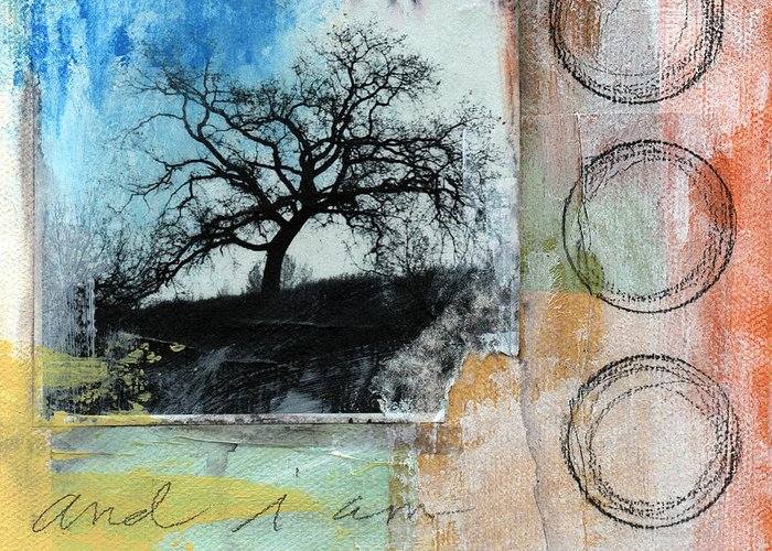 Contemporary Collage Greeting Card featuring the mixed media Still Here by Linda Woods
