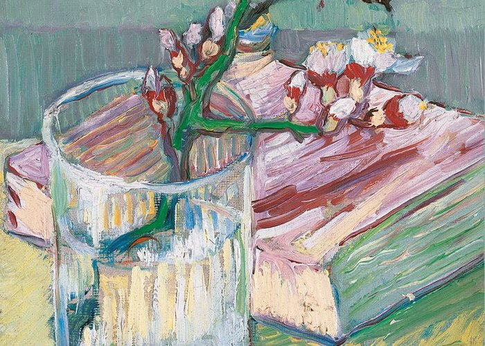 Still-life Greeting Card featuring the painting Still Life  A Flowering Almond Branch by Vincent Van Gogh