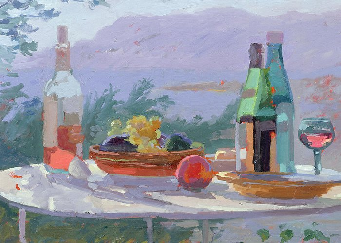 Still Lives Objects Greeting Card featuring the painting Still Life And Seashore Bandol by Sarah Butterfield