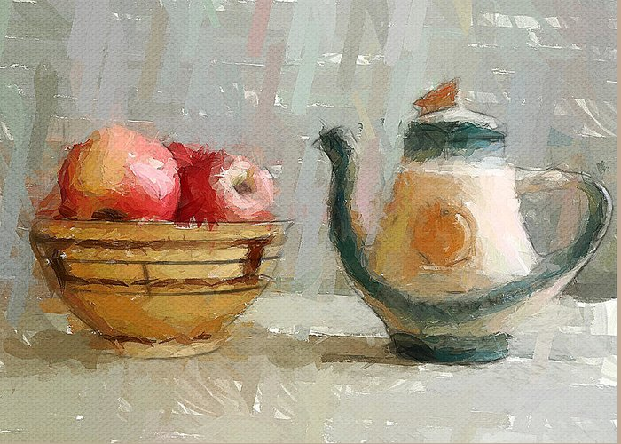 Still Greeting Card featuring the digital art Still Life Apples And Tea Pot by Yury Malkov