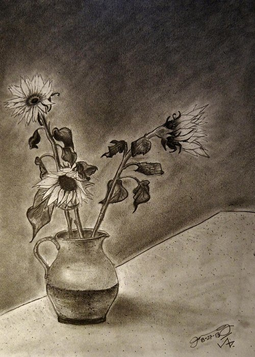 Still Life Greeting Card featuring the drawing Still Life Ceramic Pitcher With Three Sunflowers by Jose A Gonzalez Jr