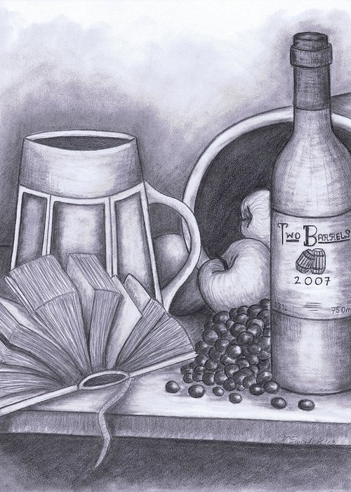 Still Life Drawing Greeting Card featuring the drawing Still Life Drawing by Kamil Swiatek