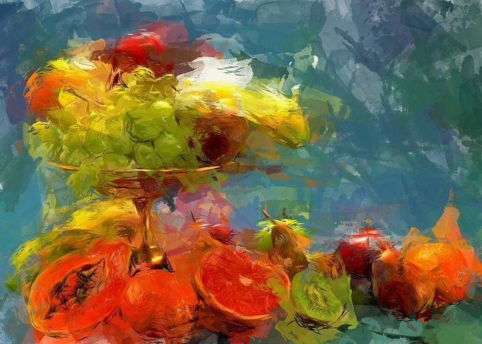Still Life Greeting Card featuring the digital art Still Life Fruits In Vase by Yury Malkov