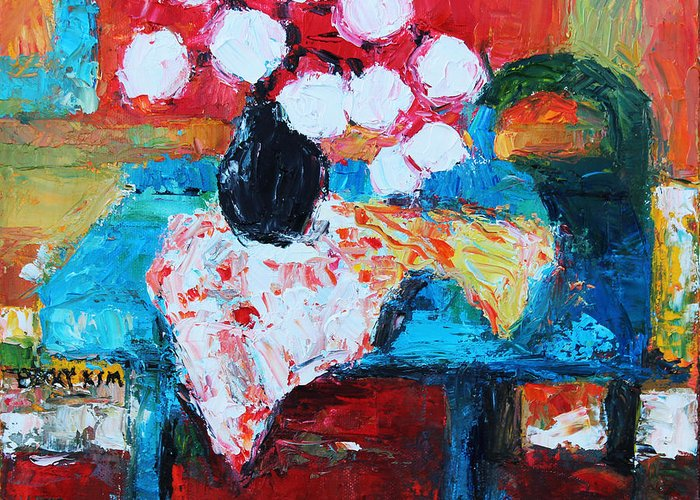 Oil Greeting Card featuring the painting Still Life In Studio 1 by Becky Kim