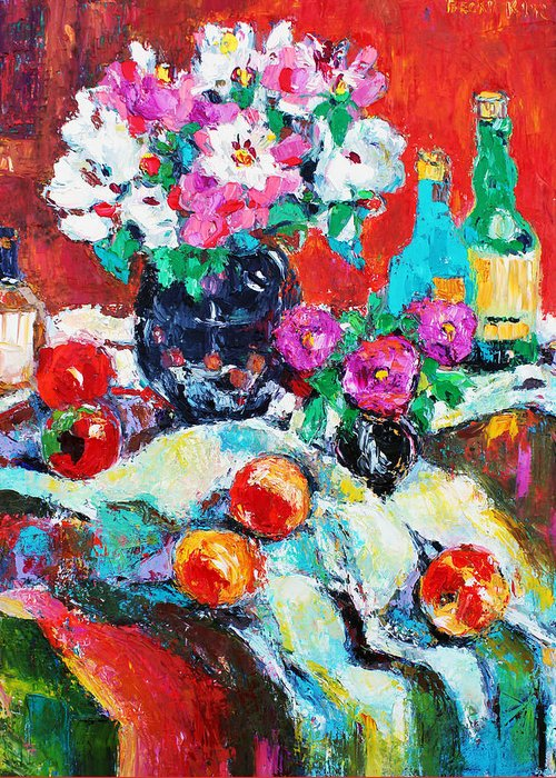 Still Life Greeting Card featuring the painting Still Life In Studio With Blue Bottle by Becky Kim