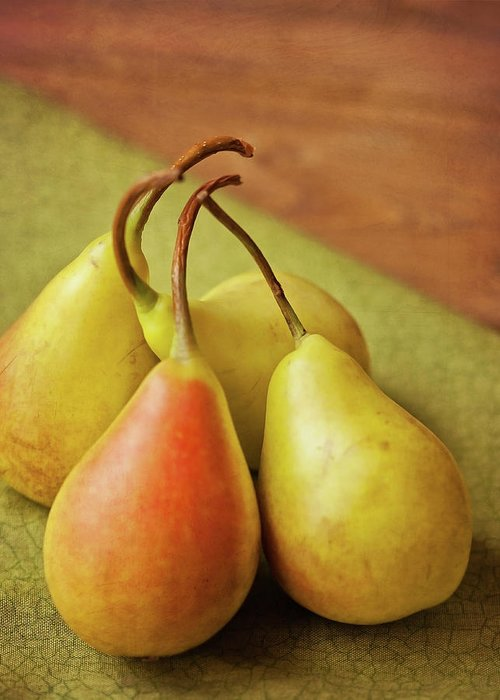 Wood Greeting Card featuring the photograph Still Life Of Pears by Carol Yepes