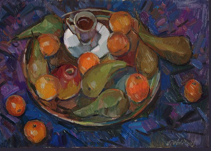 Still Life Greeting Card featuring the painting Still Life On A Tray by Juliya Zhukova