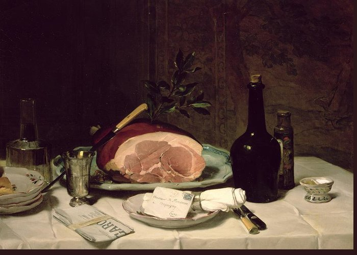 Nature Morte; Letter; Serviette; Napkin; Ham; Newspaper; Le Figaro; Knife; Bottle; Food; Decanter Greeting Card featuring the painting Still Life by Philippe Rousseau