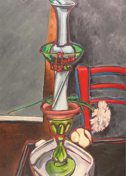 Still Life Greeting Card featuring the painting Still Life Totem by Rollin Kocsis