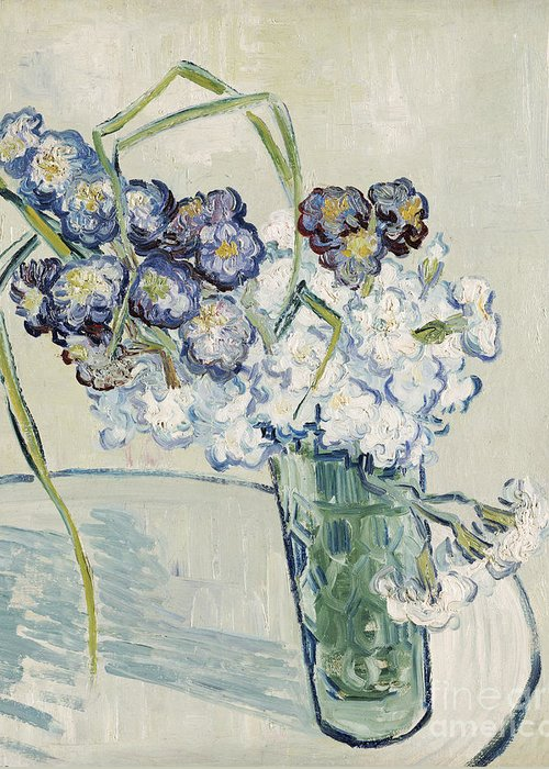 June Greeting Card featuring the painting Still Life Vase Of Carnations by Vincent van Gogh