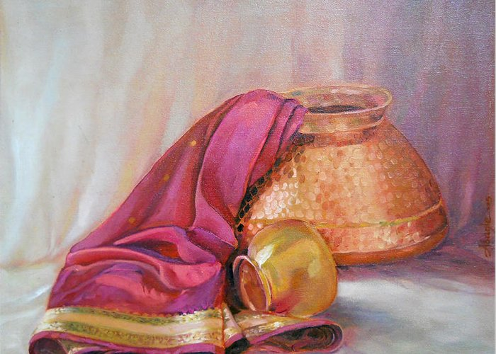 Still Life Greeting Card featuring the painting Still Life by Vijay Adagale