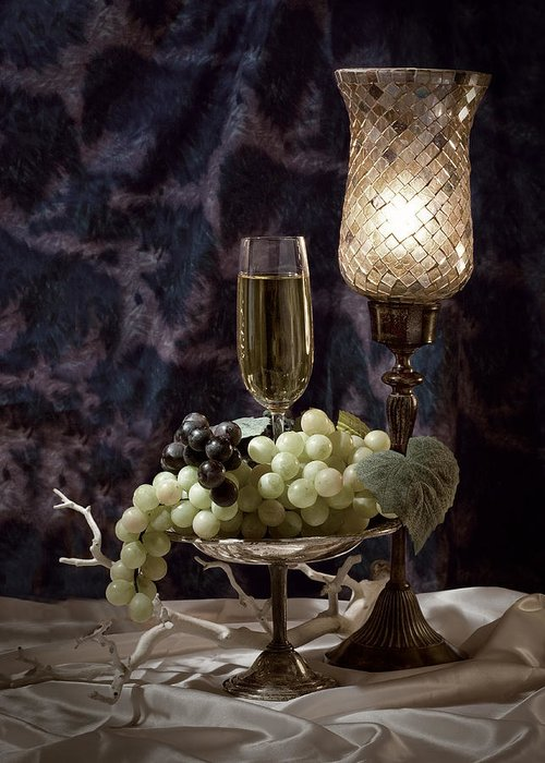 Wine Greeting Card featuring the photograph Still Life Wine With Grapes by Tom Mc Nemar