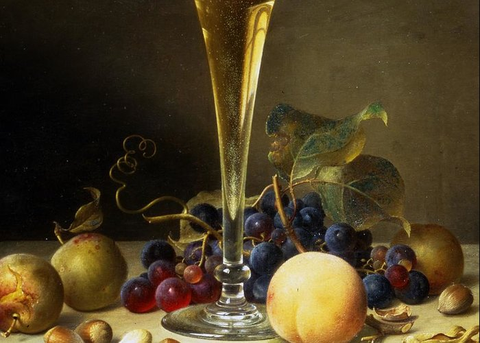 Still; Life; Still-life; Glass; Champagne; Alcohol; Alcoholic; Drink; Drinks; Beverage; Beverages; Fruit; Peach; Plum; Peaches; Plum; Bunch; Grapes; Bunch Of Grapes; Marble; Ledge; Baroque; Dutch Greeting Card featuring the painting Still Life With A Glass Of Champagne by Johann Wilhelm Preyer