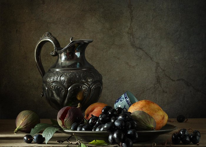 Fine Art Photograph Still Life With A Jug Greeting Card featuring the photograph Still Life With A Jug And Fruit by Diana Amelina