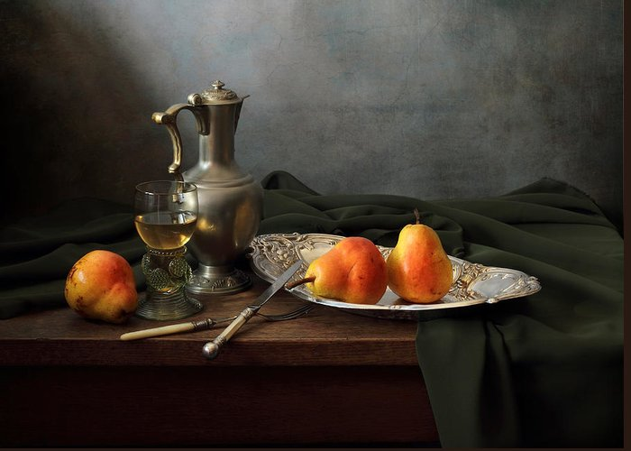 Fine Art Photograph Greeting Card featuring the photograph Still Life With A Jug And Roamer And Pears by Helen Tatulyan