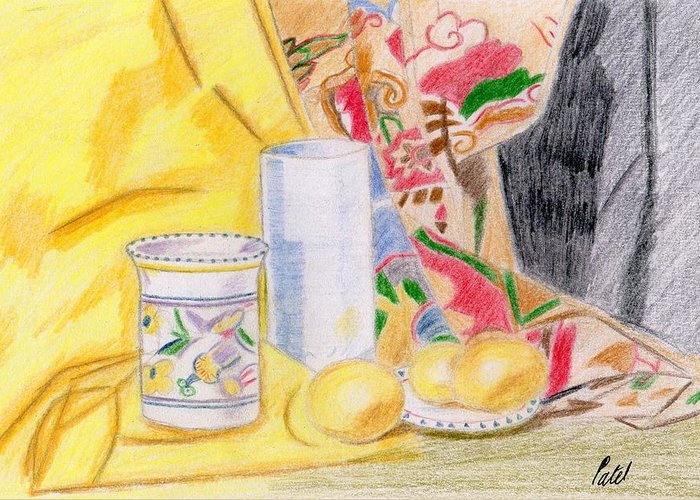 Still Life Greeting Card featuring the drawing Still Life With A Patterned Background by Bav Patel