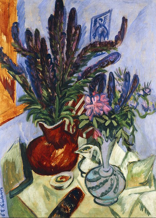 1910s Greeting Card featuring the painting Still Life With A Vase Of Flowers by Ernst Ludwig Kirchner