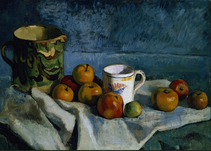Jug Greeting Card featuring the painting Still Life With Apples Cup And Pitcher by Paul Cezanne