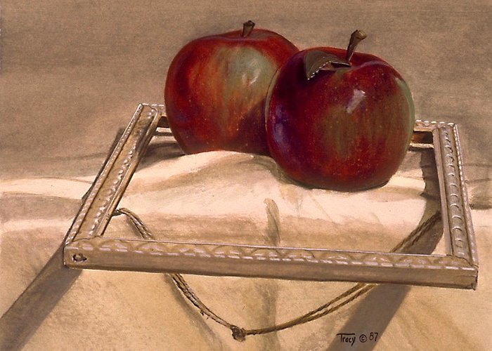 Apples Greeting Card featuring the painting Still Life With Apples In An Old Frame by Robert Tracy