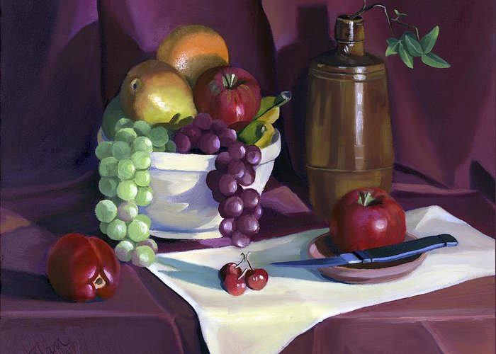Fine Art Greeting Card featuring the painting Still Life With Apples by Nancy Griswold