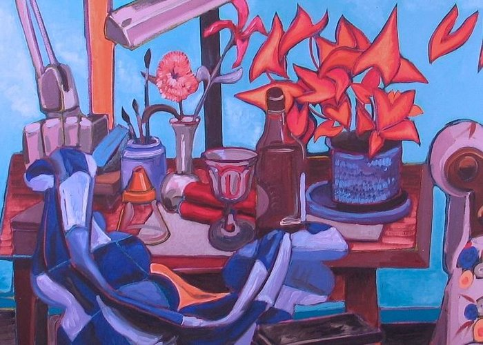Still Life Greeting Card featuring the painting Still Life With Couch by Rollin Kocsis