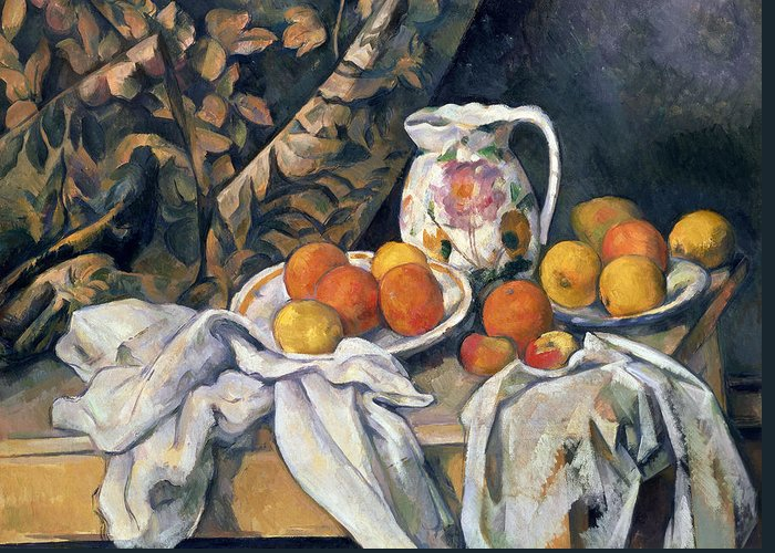 Post-impressionist Greeting Card featuring the painting Still Life With Drapery by Paul Cezanne