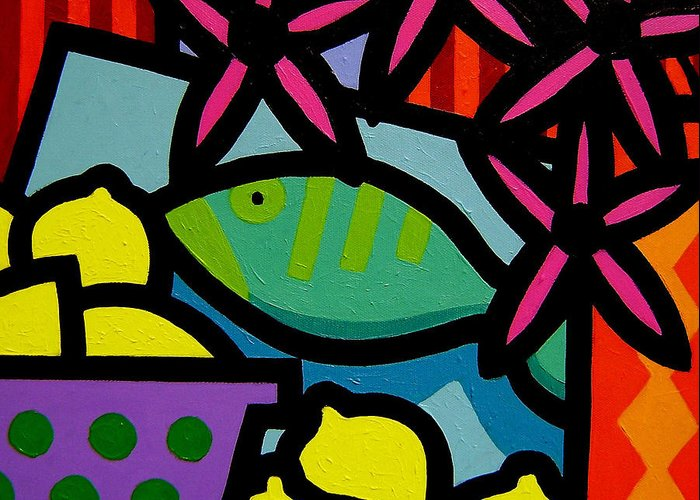 Fish Greeting Card featuring the painting Still Life With Fish by John Nolan