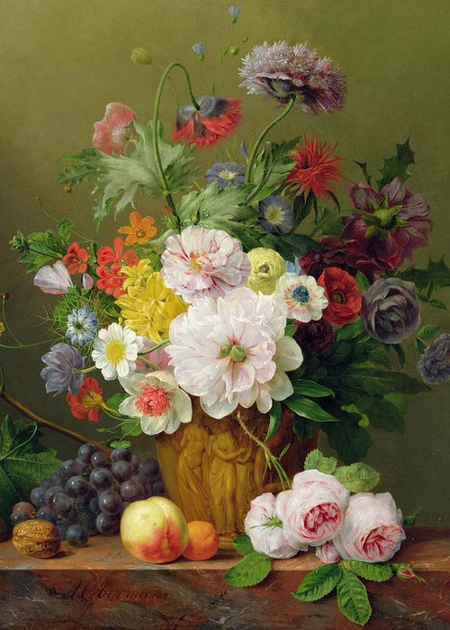 Rose Greeting Card featuring the painting Still Life With Flowers And Fruit by Anthony Obermann