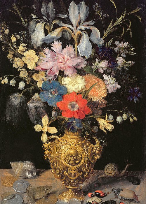 Iris Greeting Card featuring the painting Still Life With Flowers, C.1604 by Georg Flegel