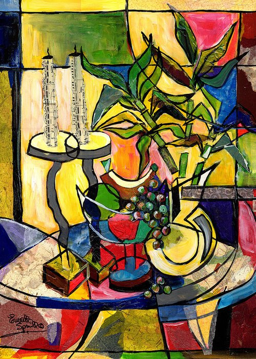 Everett Spruill Greeting Card featuring the painting Still Life With Fruit Candles And Bamboo by Everett Spruill