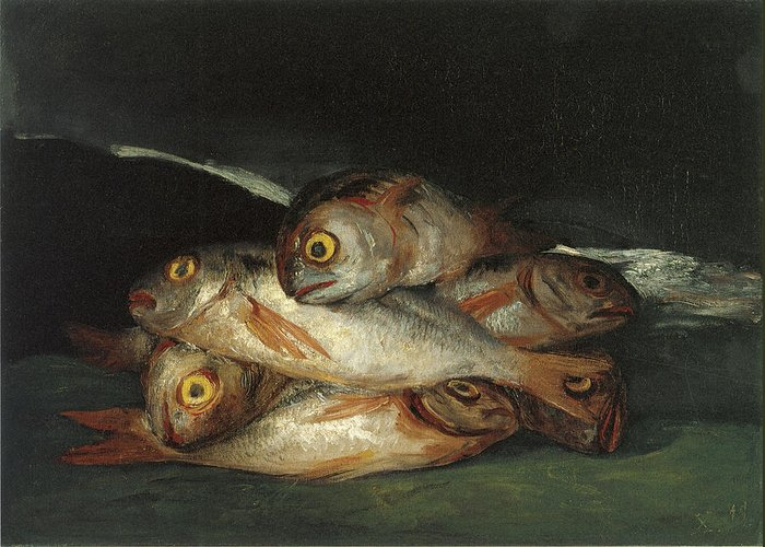 Fish Greeting Card featuring the painting Still Life With Golden Bream by Francisco De Goya